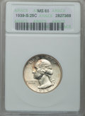 1939-S 25C MS65 ANACS. NGC Census: (354/256). PCGS Population (555/314). Mintage: 2,628,000. Numismedia Wsl. Price for p...