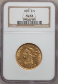 Liberty Eagles, 1855 $10 AU58 NGC....