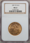Liberty Eagles, 1891-CC $10 MS61 NGC. Variety 2-B....