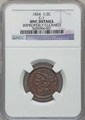 Half Cents, 1854 1/2 C -- Improperly Cleaned -- NGC Details. Unc. C-1. NGCCensus: (4/435). PCGS Population (14/272). Mintage: 55,358. ...