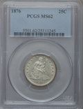 Seated Quarters: , 1876 25C MS62 PCGS. PCGS Population (73/299). NGC Census: (58/233).Mintage: 17,817,150. Numismedia Wsl. Price for problem ...
