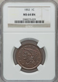Large Cents: , 1852 1C MS64 Brown NGC. NGC Census: (193/226). PCGS Population(162/99). Mintage: 5,063,094. Numismedia Wsl. Price for prob...