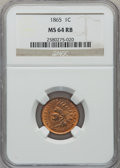 Indian Cents: , 1865 1C Fancy 5 MS64 Red and Brown NGC. NGC Census: (371/324). PCGSPopulation (256/77). Mintage: 35,429,288. Numismedia Ws...