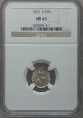 Seated Half Dimes: , 1853 H10C Arrows MS65 NGC. NGC Census: (76/57). PCGS Population(54/36). Mintage: 13,210,020. Numismedia Wsl. Price for pro...