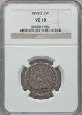 Seated Quarters: , 1878-S 25C VG10 NGC. NGC Census: (1/28). PCGS Population (1/37).Mintage: 140,000. Numismedia Wsl. Price for problem free N...