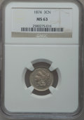 Three Cent Nickels: , 1874 3CN MS63 NGC. NGC Census: (29/79). PCGS Population (46/97).Mintage: 789,300. Numismedia Wsl. Price for problem free N...