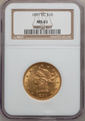 Liberty Eagles, 1891-CC $10 MS61 NGC. Variety 1-A....
