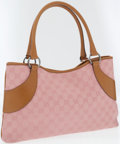Luxury Accessories:Bags, Gucci Pink Monogram Canvas and Leather Tote Bag. ...