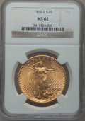 Saint-Gaudens Double Eagles: , 1910-S $20 MS62 NGC. NGC Census: (1433/1696). PCGS Population(1119/2420). Mintage: 2,128,250. Numismedia Wsl. Price for pr...