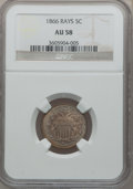 Shield Nickels: , 1866 5C Rays AU58 NGC. NGC Census: (110/1204). PCGS Population(119/1121). Mintage: 14,742,500. Numismedia Wsl. Price for p...
