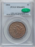 Large Cents, 1816 1C MS64 Brown PCGS. CAC. N-2, R.1....