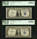 "Small Size:Silver Certificates, Fr. 1609 $1 1935A ""R"" Silver Certificate. PCGS Choice New 63PPQ. Fr. 1610 $1 1935A ""S"" Silver Certificate. PCGS Gem New 65... (Total: 2 notes)"