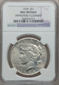 Peace Dollars: , 1928 $1 -- Improperly Cleaned -- NGC Details. Unc. NGC Census:(78/4132). PCGS Population (76/5777). Mintage: 360,649. Numi...