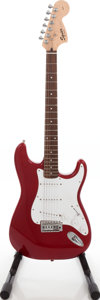 Musical Instruments:Acoustic Guitars, 2004 Fender Squire Stratocaster Candy Apple Red Solid Body Electric Guitar, Serial # IC040935932. ...