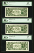 Error Notes:Third Printing on Reverse, Fr. 1921-F $1 1995 Federal Reserve Notes. Three Consecutive Examples. PCGS Gem New 65 (2) and Very Choice New 64.. ... (Total: 3 notes)