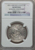 Seated Half Dollars, 1853 50C Arrows and Rays -- Scratched, Whizzed -- NGC Details. AU.NGC Census: (55/709). PCGS Population (100/582). Mintage...