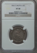Seated Quarters, 1866-S 25C VF30 NGC....