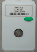 Three Cent Silver, 1871 3CS MS66 NGC. CAC....