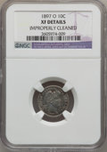Barber Dimes: , 1897-O 10C -- Improperly Cleaned -- NGC Details. XF. NGC Census:(6/58). PCGS Population (10/96). Mintage: 666,000. Numisme...