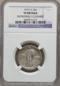 Standing Liberty Quarters: , 1919-S 25C -- Improperly Cleaned -- NGC Details. VF. NGC Census:(16/320). PCGS Population (14/518). Mintage: 1,836,000. Nu...