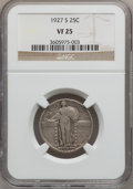 Standing Liberty Quarters: , 1927-S 25C VF25 NGC. NGC Census: (55/435). PCGS Population(97/722). Mintage: 396,000. Numismedia Wsl. Price for problem fr...