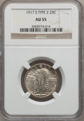 Standing Liberty Quarters: , 1917-S 25C Type Two AU55 NGC. NGC Census: (26/417). PCGS Population(62/512). Mintage: 5,552,000. Numismedia Wsl. Price for...