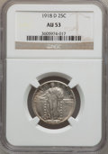 Standing Liberty Quarters: , 1918-D 25C AU53 NGC. NGC Census: (13/338). PCGS Population(14/536). Mintage: 7,380,000. Numismedia Wsl. Price for problem ...