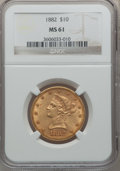 Liberty Eagles: , 1882 $10 MS61 NGC. NGC Census: (6000/4656). PCGS Population(2393/2352). Mintage: 2,324,480. Numismedia Wsl. Price for prob...
