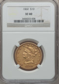 Liberty Eagles: , 1860 $10 XF40 NGC. NGC Census: (8/123). PCGS Population (19/75).Mintage: 15,105. Numismedia Wsl. Price for problem free NG...