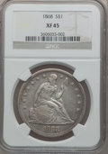 Seated Dollars: , 1868 $1 XF45 NGC. NGC Census: (13/61). PCGS Population (19/88).Mintage: 162,100. Numismedia Wsl. Price for problem free NG...