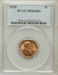 Lincoln Cents: , 1929 1C MS64 Red PCGS. PCGS Population (322/962). NGC Census:(210/1022). Mintage: 185,262,000. Numismedia Wsl. Price for p...