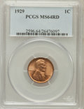 Lincoln Cents: , 1929 1C MS64 Red PCGS. PCGS Population (322/959). NGC Census:(208/1022). Mintage: 185,262,000. Numismedia Wsl. Price for p...