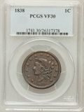 Large Cents: , 1838 1C VF30 PCGS. PCGS Population (23/557). NGC Census: (8/621).Mintage: 6,370,200. Numismedia Wsl. Price for problem fre...