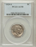 Buffalo Nickels: , 1929-S 5C AU58 PCGS. PCGS Population (46/1596). NGC Census:(25/785). Mintage: 7,754,000. Numismedia Wsl. Price for problem...