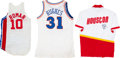 Basketball Collectibles:Uniforms, 1980's NBA Jerseys and Warm Up Jacket Lot of 3....
