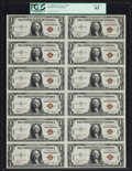 Small Size:World War II Emergency Notes, Fr. 2300 $1 1935A Hawaii Silver Certificate Uncut Sheet. PCGSChoice New 63.. ...