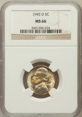Jefferson Nickels: , 1945-D 5C MS66 NGC. NGC Census: (2193/2114). PCGS Population(2176/155). Mintage: 37,158,000. Numismedia Wsl. Price for pro...