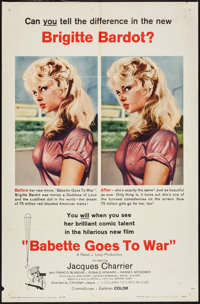"Babette Goes to War (Columbia, 1960). One Sheet (27"" X 41""), Title Card & Lobby Cards (4) (11"" X 14&q..."