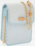 Luxury Accessories:Bags, Gucci Light Blue Monogram Canvas Cross Body Bag with BambooAccents. ...