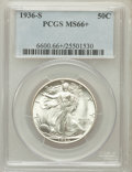 Walking Liberty Half Dollars: , 1936-S 50C MS66+ PCGS. PCGS Population (198/6). NGC Census:(148/15). Mintage: 3,884,000. Numismedia Wsl. Price for problem...