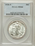 Walking Liberty Half Dollars: , 1936-S 50C MS66 PCGS. PCGS Population (198/6). NGC Census:(148/15). Mintage: 3,884,000. Numismedia Wsl. Price for problem ...