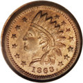 Civil War Patriotics: , 1863 Civil War Token, Fuld 91/435A, R.8. MS65 Red and Brown NGC. AnIndian head is surrounded by 13 stars on the obverse, si...