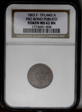 Civil War Patriotics: , 1863 Pro Bono Publico, Fuld-191/443a, MS62 Brown NGC. A softlystruck token with traces of original mint luster between the ...
