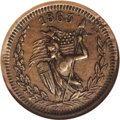 Civil War Merchants: , 1863 Freeport Brewery, Fuld-IL-320E-2a, R.6, Freeport, IL, AU58NGC.This has an unusual naked amazon reverse. A chocolate-b...
