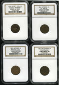 Civil War Merchants: , Patriotic Civil War Lot of Four Different NGC-Certified Tokens. An1863 Fuld-IN-460G-1a, AU55 Brown NGC; 1863 Fuld-MI-530E... (Total:4 tokens)