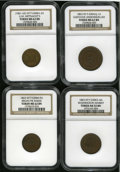 Civil War Patriotics: , New York Patriotic Civil War Token Lot, All NGC-Certified. The lotconsists of: 1863 Fuld-NY-630AQ-1a, MS62 Brown NGC; (18... (Total:4 tokens)