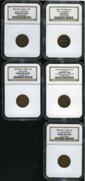 Civil War Merchants: , Patriotic Civil War NGC-Certified Lot of Five Tokens. Consists of:1863 Fuld-NY-695A-2a, AU58 NGC; 1863 Fuld-OH-165BJ-16a,... (Total:5 tokens)
