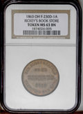 Civil War Merchants: , 1863 Rickey's Book Store, Fuld-OH-230D-1a, R.5, Dayton, OH, MS63NGC. This token, of the large cent style, has just a slight...