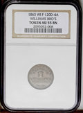 Civil War Merchants: , 1863 Williams Bro's, Fuld-WI-120D-4a, R.8, Columbus, WI, AU55 NGC.Williams Bros were chemists and druggists. This R.8 token...