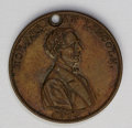 Lincoln: , Abraham Lincoln Campaign Medal and Miniature Book. The lotincludes: 1860 Abraham Lincoln Campaign Medal AU55 Holed Uncert...(Total: 2 items)